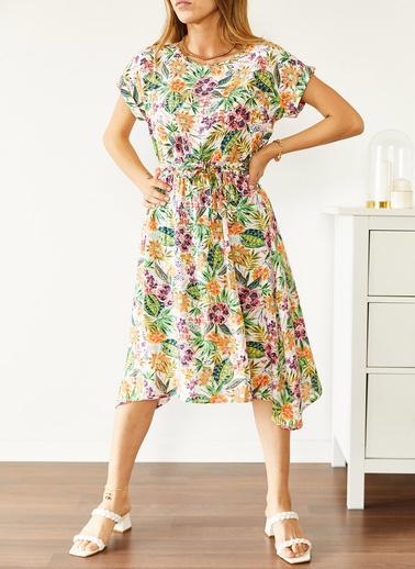 XHAN Multi Beli Lastikli Asimetrik Çiçek Desenli Elbise 0Yxk6-43868-52 Renkli